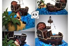 JACKE A PIRÁTI ZE ZEMĚ NEZEMĚ....bezlepkový dortík, letos poprvé s živočišnou šlehačkou a máslem. :-)